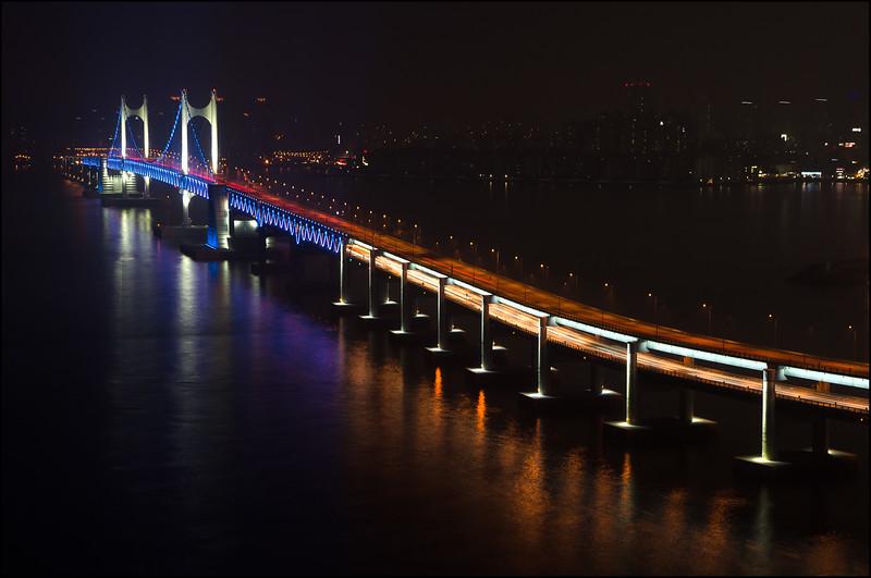 Gwangan Bridge at night - Park Hyatt Busan, South Korea