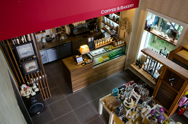 Looking down on the coffee shop
