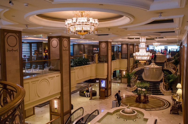 The lobby, with Aria bar overhead to the left, and Melba's Restaurant to the right