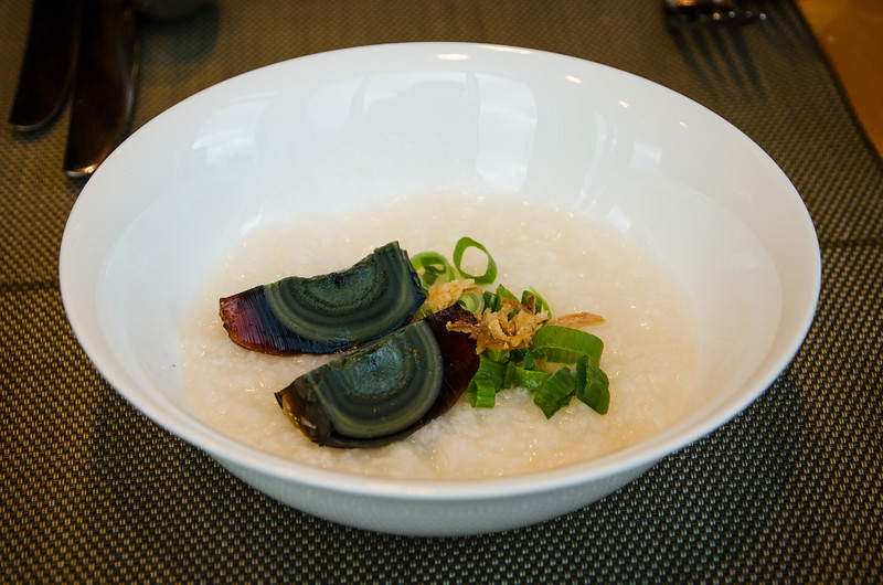 Century old egg on congee (not normally on the menu, but offered by the chef to Karen!)