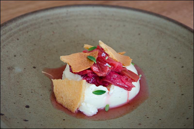 Rhubarb, panacotta, frangipane